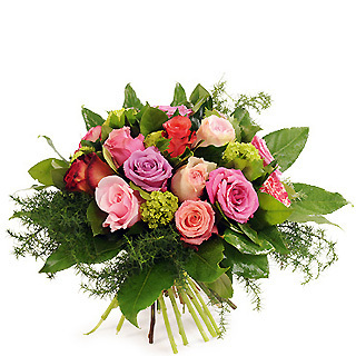Bouquet rond de roses multicolore
