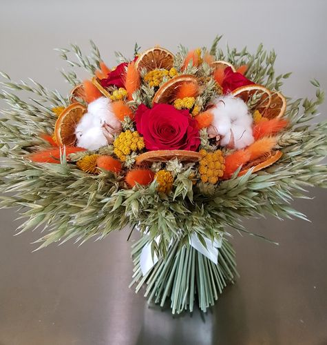 Bouquet séché orange Taille S